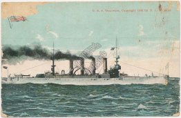 Battleship U.S.S. Tennessee - Early 1900's Navy Ship Postcard