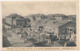 Visitors Day, Drill Office, Navy Training Station, Newport, RI - Early Postcard