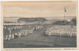 Captain's Inspection, Navy Training Station, Newport, RI - Early Postcard