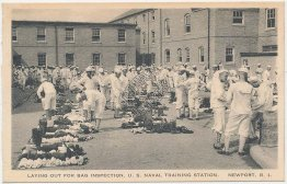 Sailors, Bag Inspection, US Navy Training Station, Newport, RI - Early Postcard
