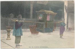 Native Sedan Chair, Japan - Early 1900's Hand Colored Japanese Postcard