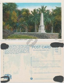 Captain Cook Monument, Island of Hawaii HI - Early 1900's Postcard