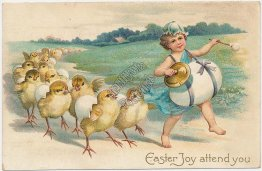 Drummer Boy, Chicks, Egg Parade - Early 1900's Embossed Easter Postcard