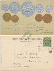 Mexican Currency, Coins, Pesos, Centavos 1906 Embossed Mexico Postcard