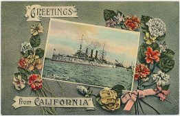 USS New Jersey Navy Ship, Greeting from California - Great White Fleet Postcard