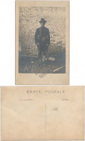 French Soldier Holding Rifle, Bayonet - Early 1900's RP Photo Postcard