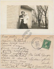 Woman Holding Baby, Russiaville, IN Indiana - 1913 Real Photo RP Postcard