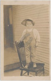 Boy Dressed in Overalls, Straw Hat - Early 1900's Real Photo RP RPPC Postcard