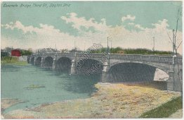 Concrete Bridge, Third St., Dayton, OH Ohio - Early 1900's Postcard