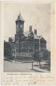 High School, Mansfield, OH Ohio 1906 Postcard