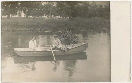 Couple in Row Boat, Lagoon, Toledo, OH Ohio 1915 Real Photo RP Postcard