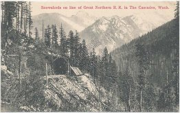 Snowsheds on Great Northern R.R., Cascade Mountains WA Washington Early Postcard