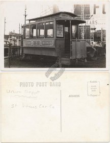 Union Depot, St. Louis Car Co., MO Horse Drawn Trolley RP Photo Postcard