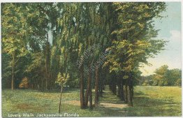 Lovers Walk, Jacksonville, FL Florida - Early 1900's Postcard