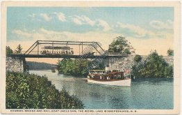 Channel Bridge, Mail Boat Uncle Sam, The Weirs, Lake Winnepesaukee, NH Postcard
