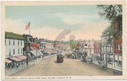Trolley, Main St., Bank Square, Laconia, NH New Hampshire - Early 1900s Postcard