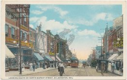 Trolley, North Market St., Wilmington, DE Delaware - Early 1900's Postcard