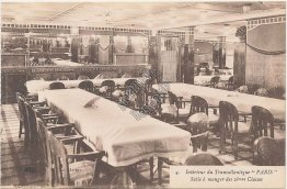 2nd Class Dining, C G Transatlantique, French Line Steamer Paris Early Postcard