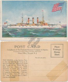 US Navy Battleship Virginia, Prudential Insurance - Early 1900's Ship Postcard