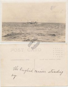 English Cruiser Ship - Early 1900's Real Photo RP Postcard