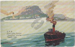 CPR Great Lakes Steamer Assiniboia, Thunder Cape, Ontario, Canada Postcard