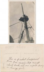 Ship Mast, Broken Off After Heavy Gale, Storm - Early 1900's RP Photo Postcard