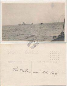 Mahoue Ship and Tug Boat - Early 1900's Real Photo RP Postcard
