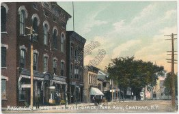 Masonic Building & Post Office, Park Row, Chatham, NY - Early 1900's Postcard