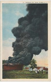 Burning Oil Tank, Olean, NY New York - Early 1900's Postcard