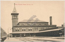 Union Passenger R.R. Station, El Paso, TX Texas Early 1900s Fred Harvey Postcard