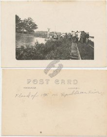 Flood, Republican River, CO, Haigler,  Benkelman, NE, Junction City, KS Postcard