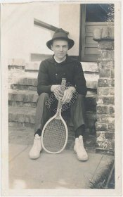 Man Holding Tennis Racket, Wright & Ditson Columbia - Early 1900's Photo
