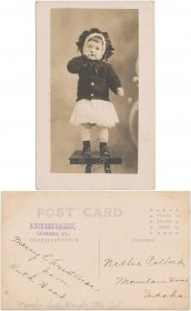 Girl Standing on Chair, Geneseo, IL Illinois - Early 1900's RP Photo Postcard