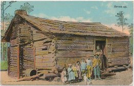 Log Cabin, Seven Up - Early 1900's Black Americana Postcard