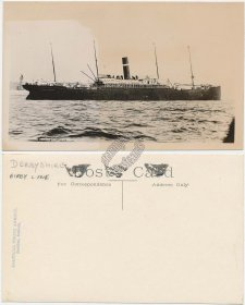 SS Derbyshire, Bibby / Dominion Line Steamer - Early Real Photo RP Postcard