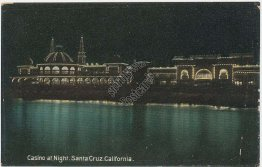 Casino at Night, Santa Cruz, CA California - Early 1900's Postcard