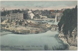 Lower Falls, Mill, Winooski, VT Vermont 1907 Hand Colored Postcard