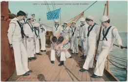 Navy Sailors Wrestling on Board US Warship - Early 1900's Ship Postcard