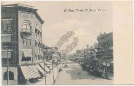 El Paso Street, El Paso, TX Texas - Early 1900's Postcard