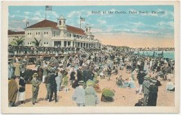 Beach at the Casino, Palm Beach, FL Florida - Early 1900's Postcard