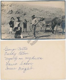 Horse Drawn Stage Wagon, People w/ Fishing Poles - Early RP Photo Card