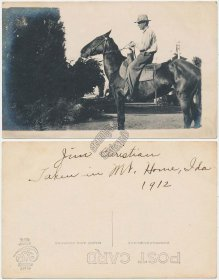 Man Riding Horse, Mt Mountain Home, ID Idaho - Early 1900's RP Photo Postcard
