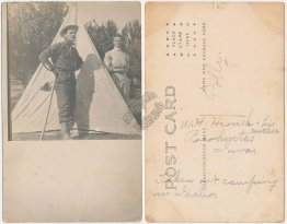 Man, Mother from Pocahontas, IA Camping Tent in Idaho - Early 1900's RP Postcard