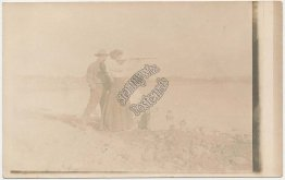 Woman Shooting Rifle, Gun - Early 1900's Real Photo RP Western Postcard