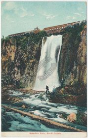 Train, Man Fishing, Spearfish Falls, SD South Dakota - Early 1900's Postcard