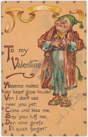 Man Holding Heart, TUCK Leatherette Valentine's Day Pre-1907 Postcard