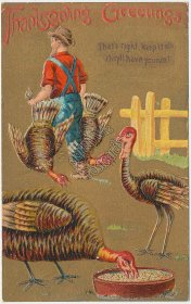 Man Carrying Turkeys, Thanksgiving Day - Early 1900's Embossed Postcard