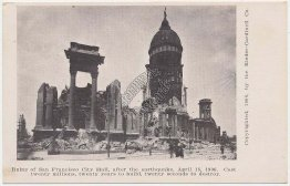 City Hall Ruins, 1906 Earthquake & Fire, San Francisco, CA California Postcard