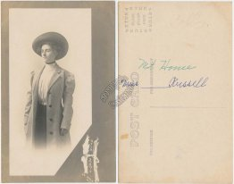 Woman in Formal Attire, Coat, Mt Mount Home, ID Idaho - Early 1900's RP Postcard
