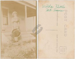 Woman in Front of House, Wilda Hittle, Mt Mount Home, ID Idaho RP Photo Postcard
